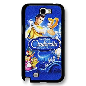 Personalized Cinderella Cartoon Hard Plastic Phone Case Cover for Samsung Galaxy Note 2 - Black