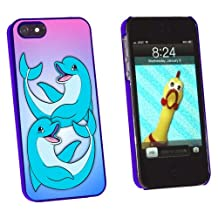 Graphics and More Happy Cartoon Dolphin - Beach Ocean Vacation Snap-On Hard Protective Case for Apple iPhone 5/5s - Non-Retail Packaging - Blue