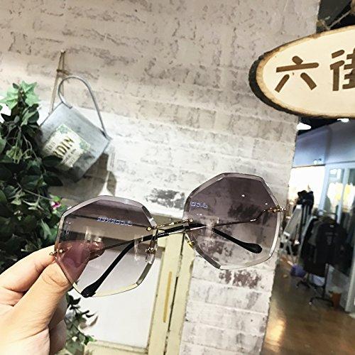 Sunyan Schneide neuen Frame Sonnenbrille super großen rahmen Persönlichkeit polygon Tinte Spiegel weibliche Brille Tide, Transparent Blau