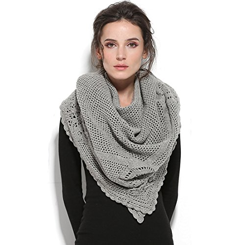 ZORJAR Wool Winter Scarf Crochet Warm Triangle Thick Fashion Scarves For Women(Gray1) by ZORJAR