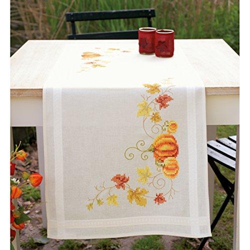 Pumpkins Table Runner Stamped Cross Stitch Kit-16