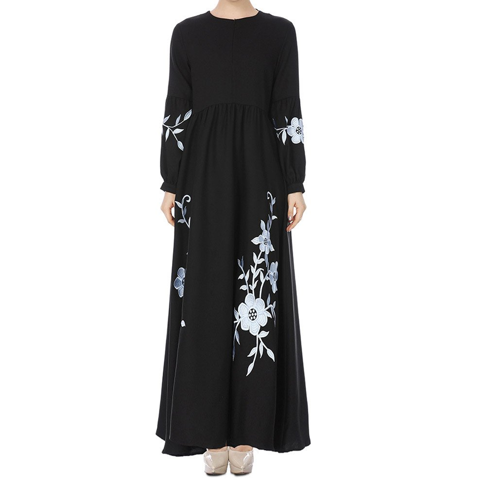 a122ae72247 Amazon.com  WYTong Hot Sale! Womens Muslim Chiffon Long Dress Floral  Embroidery Long Sleeve Vintage Tunic Maxi Dresses  Clothing