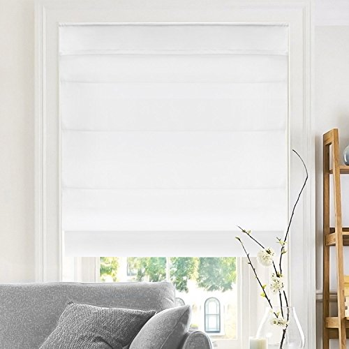 """CHICOLOGY Belgian Snow Cordless Roman Shades, 35"""" W X 64"""" H, Privacy & Light Filtering"""