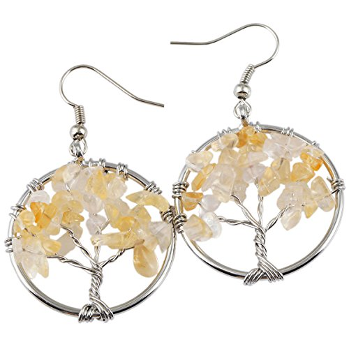 (SUNYIK Citrine Tree of Life Dangle Earrings for Women(Silver Plated))