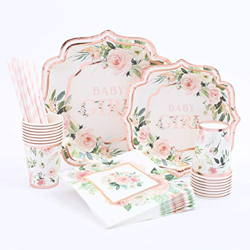 Girl Baby Shower Plates And Napkins (Floral Baby Girl Shower | Stunning Real Rose Gold Foil | Serves 16 | Rustic or Floral Baby Shower |  Baby Shower Girl)