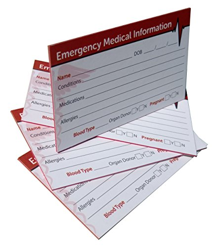 Emergency Medical Information ID Card (4 Pack) Triple-layered 38 Pt Card (Medical Id Wallet Card)