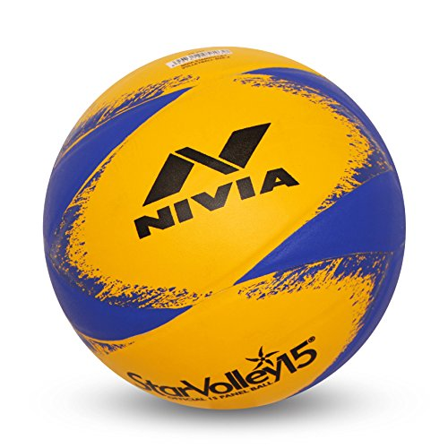 Nivia 493 Star Leather Volleyball, Size 4  Yellow