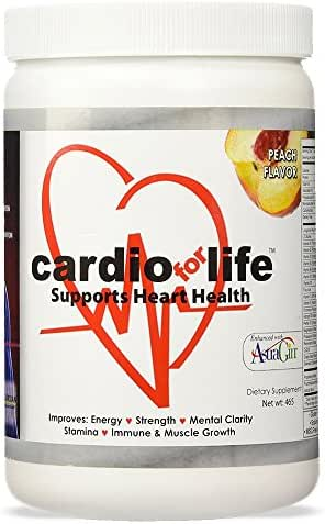 Cardio for Life L-Arginine Powder 16oz - Peach - Natural Nitric Oxide Supplement for Cardiovascular Health - Regulate Cholesterol & Blood Pressure - Increase Energy