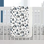Carousel Designs Blue Woodland Mountains Crib Blanket