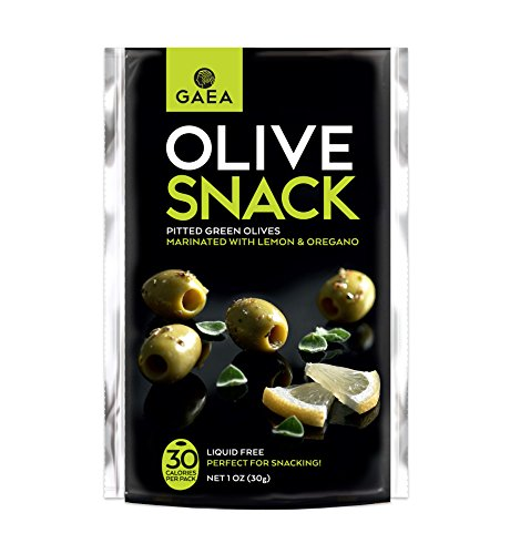 Gaea Snack Pack Pitted Green Olives with Oregano and Lemon Juice - 1 oz (Pack of 10) ...