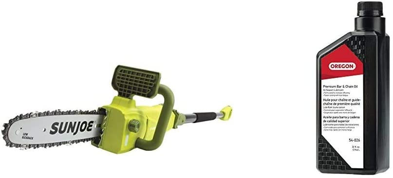 Sun Joe SWJ807E 10 inch 8.0 Amp Electric Convertible Pole Chain Saw, Green & Oregon 54-026 Chainsaw Bar and Chain Oil, 1 Qt