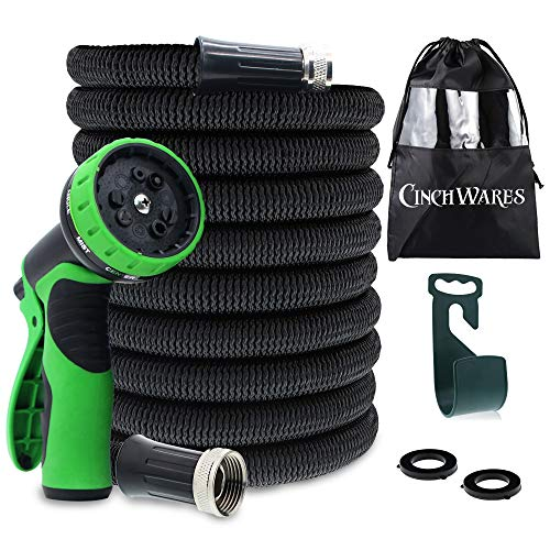 CinchWares Expandable Garden Hose 50 FT; Heavy Duty with 9 Setting Spray Nozzle and Hose Hanger; The Only Collapsible Hose Guaranteed Not to Kink, Tangle, Corrode or Leak; Lightweight, Ultra-Durable