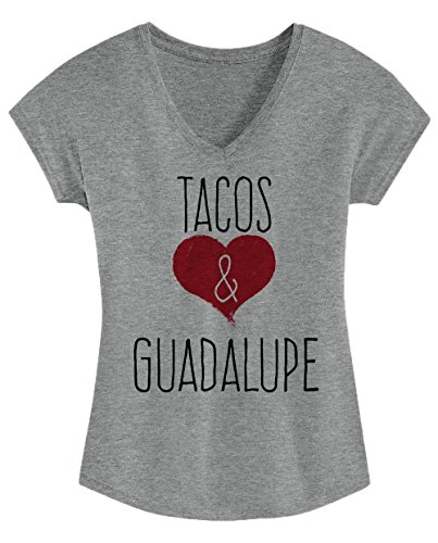I Love Tacos & Guadalupe - Cute, Stylish Ladies' Triblend V-neck