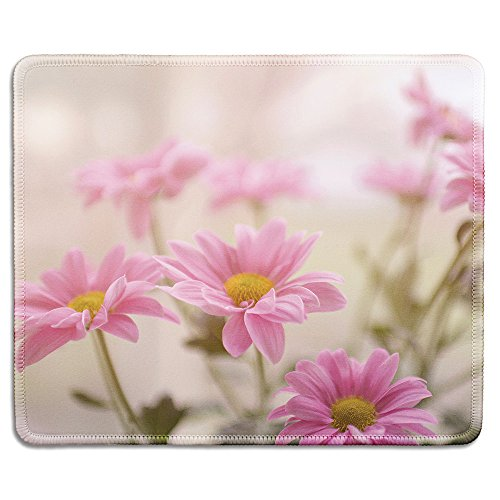 dealzEpic - Art Mousepad - Natural Rubber Mouse Pad Printed with Retro Style Pink Flowers - Stitched Edges - 9.5x7.9 inches
