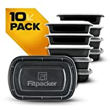 Fitpacker Meal Prep Containers - USA Quality and Safety - BPA Free Food Storage, Microwaveable, Dishwasher and Freezer Safe Bento Style Lunch Boxes for Portion Control (10 pack, One Compartment, 28oz)