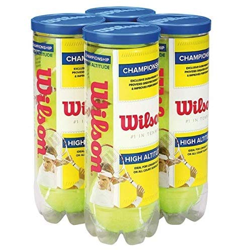 Wilson High Altitude Tennis Balls Championship – 4 Pack, 12 Balls, Yellow, USTA and ITF Approved – Official Ball of The US and Australian Open Grand Slam Championships – Official Ball of NCAA Tennis