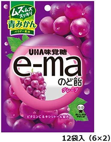 味覚糖 e-ma イーマ のど飴 袋 グレープ 50g × 12袋入(6×2)/ぶどう