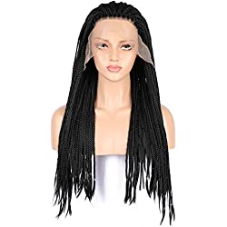 MostaShow Front Human Hair Wigs Full Lace Braid Wigs with 120% Density Pre Plucked Straight Glueless Nature Black Lace Front Wigs Half Hand Tied