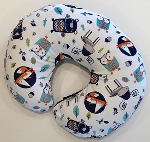 Minky Nursing Pillow Cover. Into The Woods in Navy Cuddle. You choose the Dimple Dot Back. Back is pictured in Navy Dimple Dot.