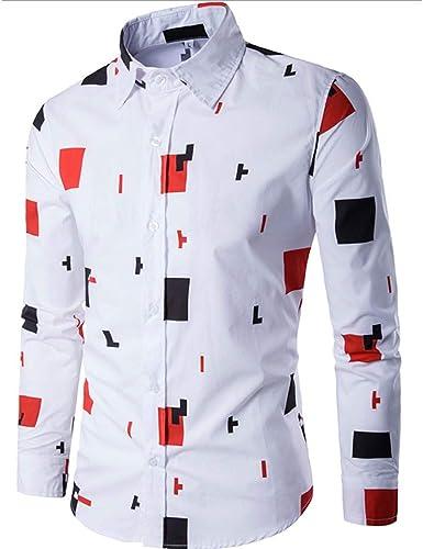 Camisa de Caballero Moda Solapa Manga Larga Camisa Estampada Color Block Camisas Casual para Hombre cómodo Slim fit Blusa Ocio Top Funky Camisa Hombre de Estilo británico: Amazon.es: Ropa y accesorios