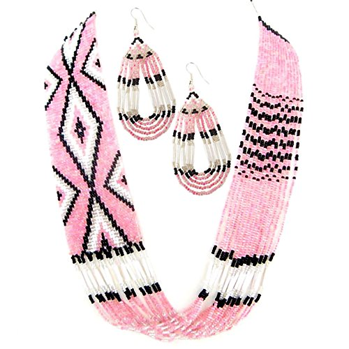 Native American Style Handmade Necklace Earrings Set Layered Seed Beaded (Pink)