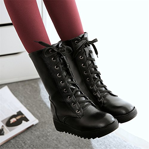 Snow Lining Boots Lace Fashion Mid Cold Long HAPPYLIVE Snow Womens Winter Fur SHOPPING Warm Up Waterproof Casual Mid Motorcycle Calf Weather Fleece Leather Black PU Heavy Heel qxvwO8g4x