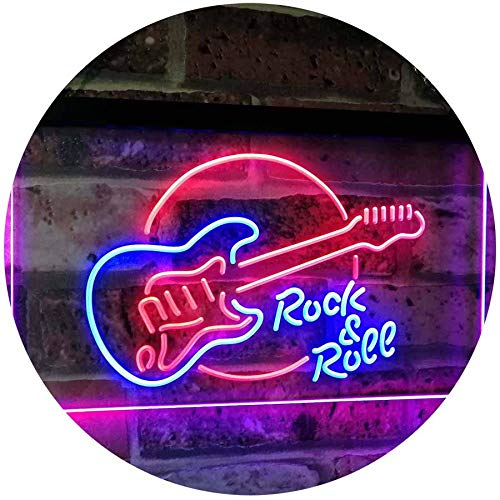 AdvpPro 2C Rock & Roll Electric Guitar Band Room Music Dual Color LED Neon Sign Blue & Red 12