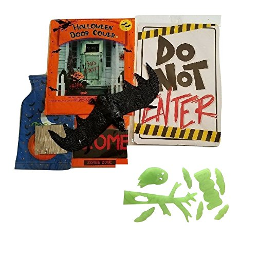 Decorate Your Door and Lawn with Bats, Zombie Zone Fright Tape, Do Not Enter and Enter if You Dare Sign, Door Cover from this Bundle (Halloween Door Cover Ideas)