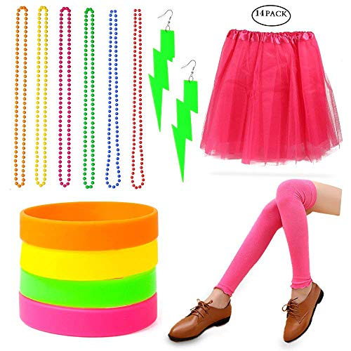 Beelittle Women's 80s Fancy Outfit Costume Accessories Set (06)