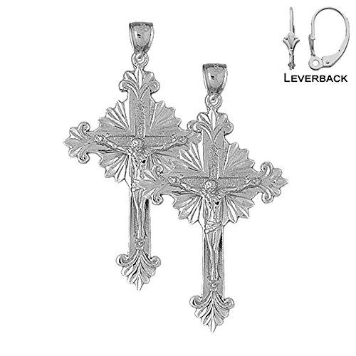 14K White Gold 52mm Budded Glory Crucifix Leverback Earrings (Approx. 11.6 grams) (Cross 14k Wg)