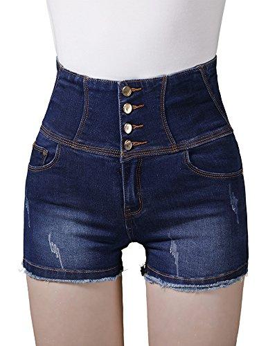 Pantaloncini Donna Cotone A Da Blu Vivo Vita Traspirante Traspiranti Taglio Alta In Con rqrPxaS