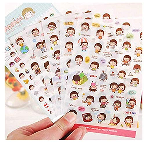 Ruotong 6 Sheets Lovely Cute Momoi Girl DIY Craft Decorative Adhesive Sticker Tape/Kids Craft Scrapbooking Sticker Set for Diary, Album