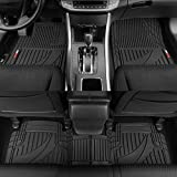 Motor Trend OF-793-BK Black FlexTough Advanced Performance Rubber Floor Mats for Car SUV Auto Truck, 3pc Front & Rear Liner Set, All Weather Plus Protection