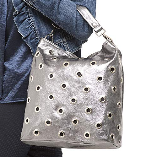 Bag Pearl Shoulder Grey Metallic Marlafiji ZOxI8dqw66