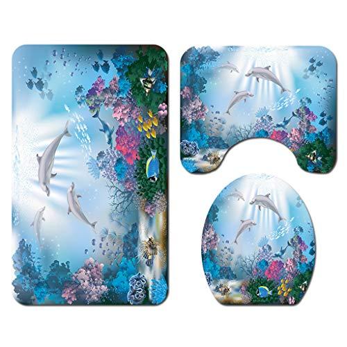 NIHAI 1Pc/3Pcs /4PCS Coral Dolphin Shower Curtain Set, Bathroom Mats Set Non-Slip Rug Carpet Toilet Polyester Cover Absorbent Mat Shower Curtain (C)