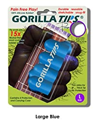 Large Blue GORILLA TIPS fingertip guards/protectors for Guitar, Banjo, mandolin, etc.