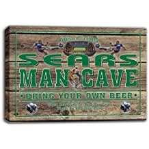 scqd1-1844 SEARS Soccer Man Cave Beer Pub Stretched Canvas Print Sign