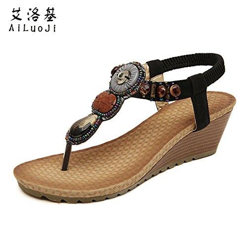 folklorique chaussures toe femme sandales de romaines dégradé style clip diamant perlé sandales 40 Bohème plage chaussures nouveau été yalanshop 4awfEE