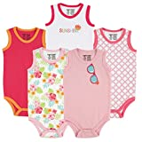 Luvable Friends Baby Infant 5-Pack Lightweight Sleeveless Bodysuits, Girl Sunglasses, 6-9 Months