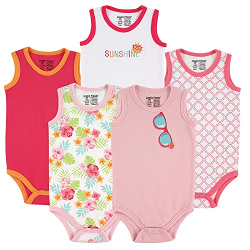 - Luvable Friends Baby Sleeveless Cotton Bodysuits, Girl Sunglasses 5Pk, 6-9 Months (9M)