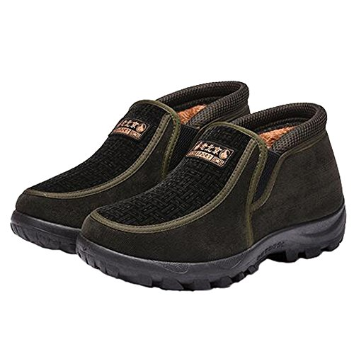 Angelliu Comfy Mens Inverno Caldo Scarpe Da Neve Peluche Non Skidding Stivaletti Alla Caviglia Vecchie Scarpe Beijing Per La Mezza Età Verde Militare