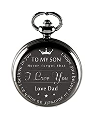 Memorial Pocket Watch 'To My Son Never Forget That I Love You, Love Dad'