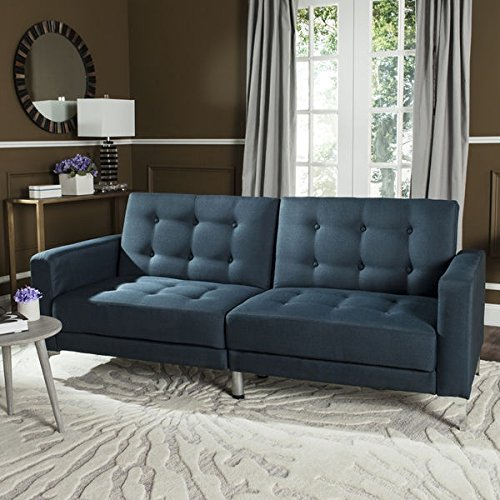 Futons/ Sofa Bed Contemporary, Modern Soho Tufted Foldable Navy Loveseat Sofa Bed - Assembly Required LVS2000C. 77.1
