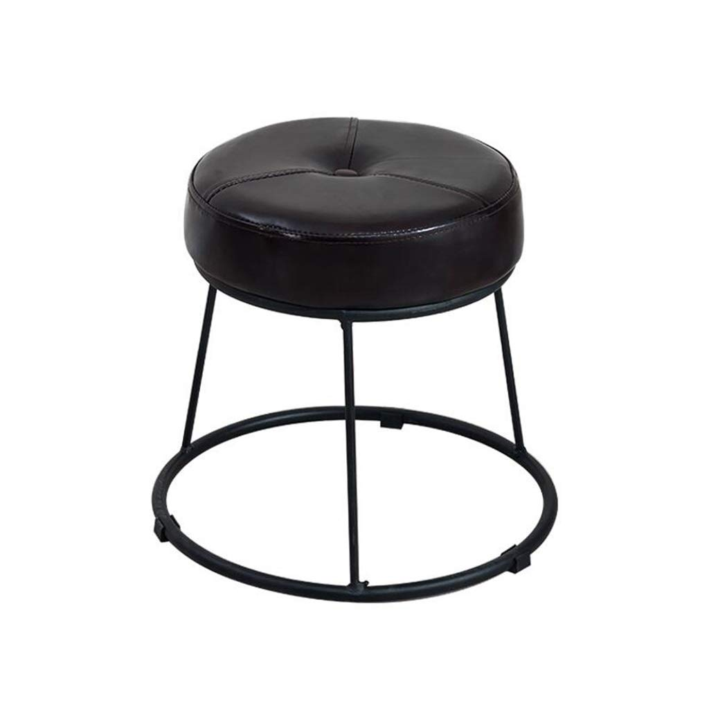 Round Metal Footstool Upholstered Ottoman Creative Sofa Footrest Change Shoe Stool Luxury Dining Chair (6 Colors) (Color : Black, Size : High36.5cm) ZRX-Footstool