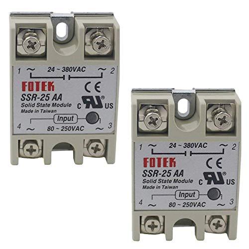 TinaWood 2PCS SSR-25AA Input 80-250V AC Output 24V-380VAC Solid State Relay (SSR-25AA x2)
