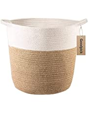 """Goodpick Cotton Rope Storage Basket- Jute Basket Woven Planter Basket Rope Laundry Basket with Handles for Toys, Blanket and Pot Plant Cover, 16.0"""" x15.0"""" x12.6"""""""