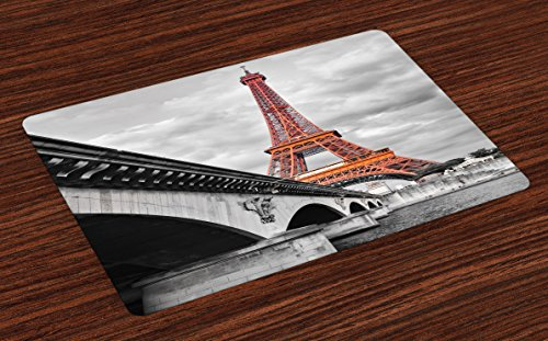 Lunarable Eiffel Tower Place Mats Set of 4, Eiffel Tower Monochromic Art French Landscape Tourist Attraction Honeymoon, Washable Fabric Placemats for Dining Room Kitchen Table Decoration, Grey Orange