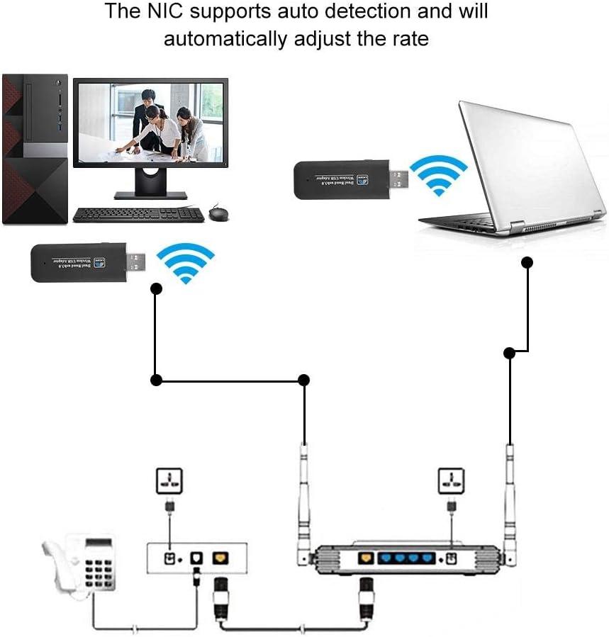 ASHATA WiFi USB Dongle USB3.0 1200M 2.4G 5G Wireless Card Dual Network Band WiFi Adapter for Windows//Linux//MAC