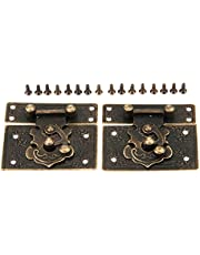 Dophee 2Pcs Antique Style 55x47mm Decorative Box Latch Hasps for Wooden Jewelry Gift Wine Box
