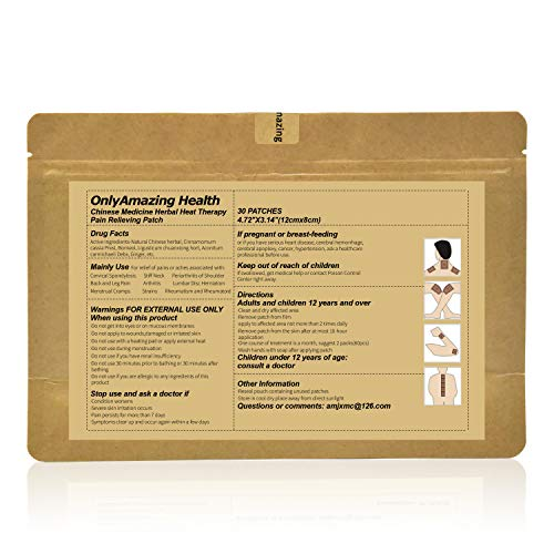 Pain Relief Patch - 30 Patches Chinese Medicine Herbal Pain Relieving Patch for Neck, Back, Shoulder, Leg, Foot, Arthritis, Muscle, Joint Pain Relief (1 x 30 Patches)